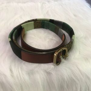 Coldwater Creek | Leather Belt Metallic Thread Sm